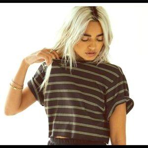 Joah Brown Cobain Crop Tee Black & Tan Cotton